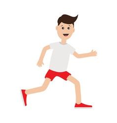Funny cartoon running guy Cute run boy Jogging man vector