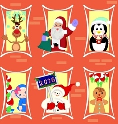 Gingerbread house inhabited Christmas characters vector