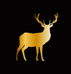 gold silhouette of reindeer with big horns vector image
