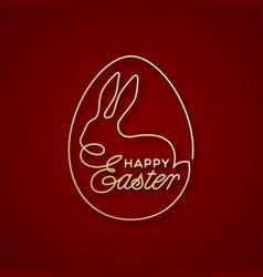 Golden happy easter lettering egg vector