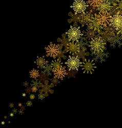 Golden snowflakes blizzard in the darkness vector image