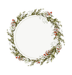 greenery wreath in watercolor style vintage vector image