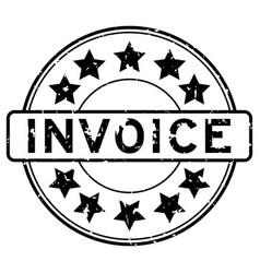 Grunge black invoice word with star icon round vector