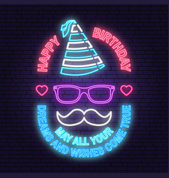 Happy birthday to you neon sign may all your vector