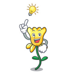 have an idea daffodil flower mascot cartoon vector image