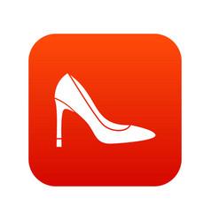 high heel shoe icon digital red vector image