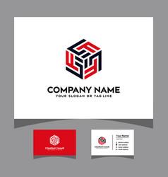 Initials lf hexagon logo with a business card vector