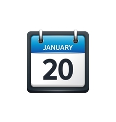 January 20 calendar icon flat vector