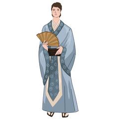 japanse man wearing traditional kimono holding fan vector image