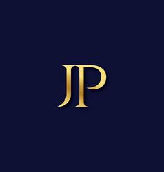 Jp alphabet modern logo design concept vector