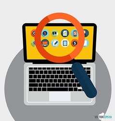 Laptop and magnifying glass with application icon vector image