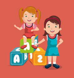 little girls playing with toys characters vector image