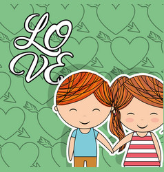 love little couple happy holding hands heart arrow vector image