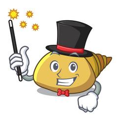Magician mollusk shell mascot cartoon vector