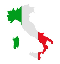 Map and flag of italy vector