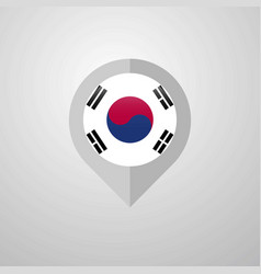 Map navigation pointer with korea south flag vector