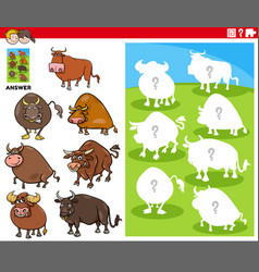 Matching shapes game with cartoon bull characters vector