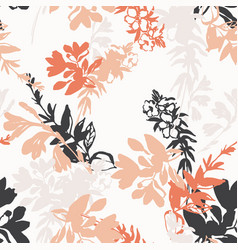 meadow flowers silhuoettes background small vector image