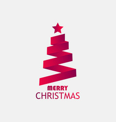 merry christmas greeting card christmas tree from vector image