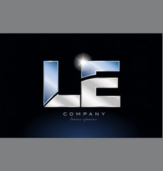 Metal blue alphabet letter le l e logo company vector