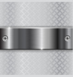 Metal brushed plate with screws on non-slip vector
