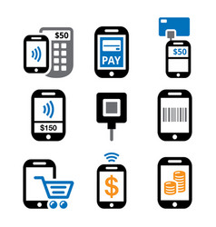 mobile or cell phone payments paying online using vector image