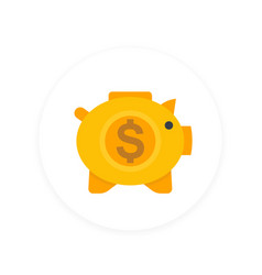 moneybox icon savings sign money box pig vector image
