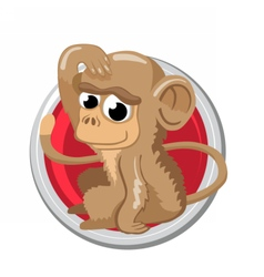 Monkey Orient horoscope sign isolated in circle vector