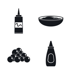 Mustard seeds sauce bottle icons set simple style vector
