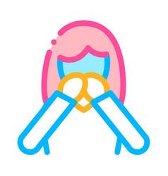 Nausea symptomp of pregnancy thin line icon vector