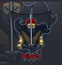 ninja with katana on a dark background logo vector image
