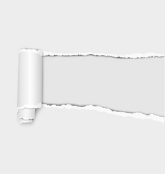 Oblong torn hole from right to left in white vector