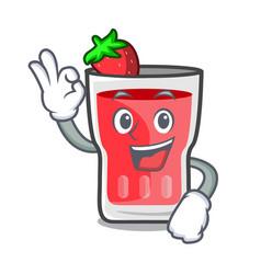 Okay strawberry mojito character cartoon vector