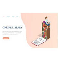 online library internet page books and textbooks vector image