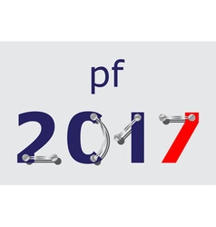 Pf 2017 - blue red with plates and screws vector