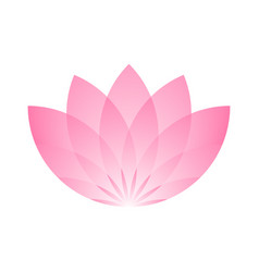 pink lotus flower icon symbol of yoga and beauty vector image