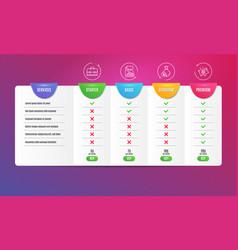 Portfolio report and cash icons set piggy sale vector