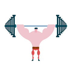 press up barbell athlete and barbell bodybuilding vector image