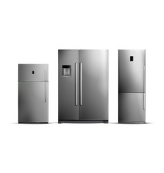 realistic silver fridges set vector image