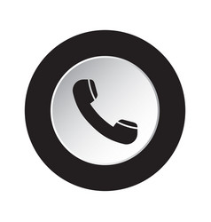 round black white icon - old telephone handset vector image