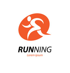running logo with abstract runner silhouette vector image
