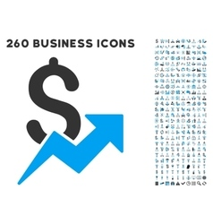 Sales Growth Icon with Flat Set vector