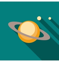Saturn planet icon in flat style vector