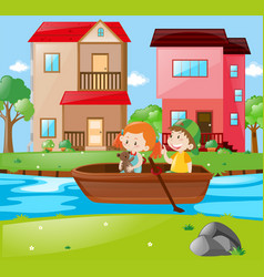 Scene with kids rowing boat vector
