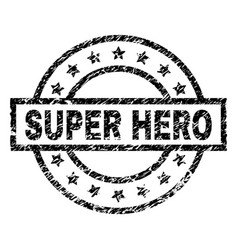 Scratched textured super hero stamp seal vector