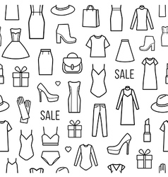 Seamless pattern of womens clothing and vector image