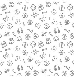 seamless pattern with chemistry line signs vector image