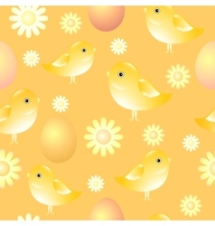 Seamless pattern with chicks eggs and flowers vector image vector image