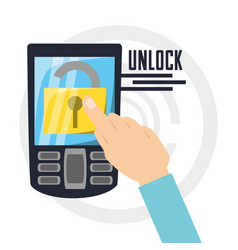 Security cellphone with padlock app inside vector