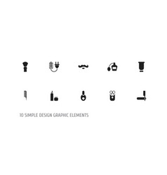 set of 10 editable barber icons includes symbols vector image
